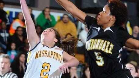 Massapequa High School #2 Danielle Doherty, left, has