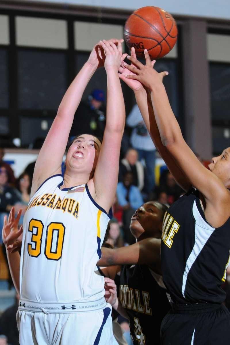 Massapequa High School #30 Samantha DeSandis, left,