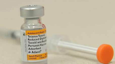 A bottle of the pertussis vaccine against whooping