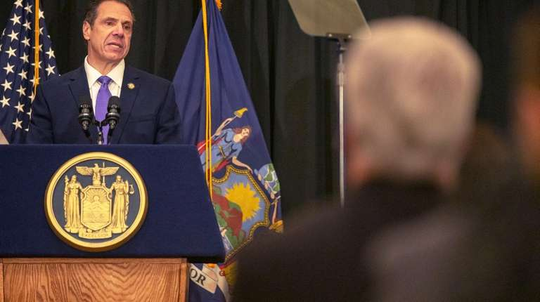 Gov. Andrew M. Cuomo speaks at a Long