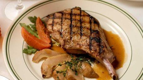 A Berkshire pork chop served at George Martin's