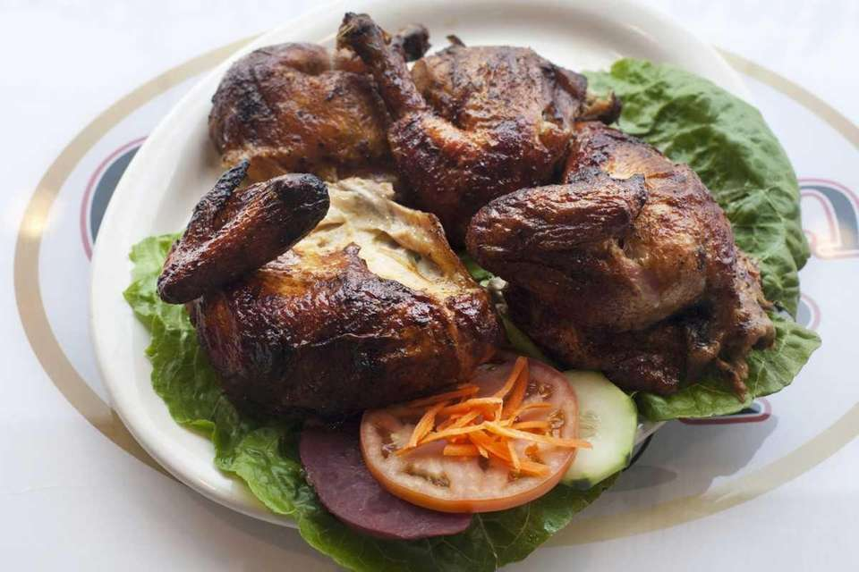 Pollo entero a la brasa, whole rotisserie chicken,