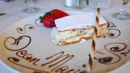 A plated napoleon at Jean Marie Patisserie in