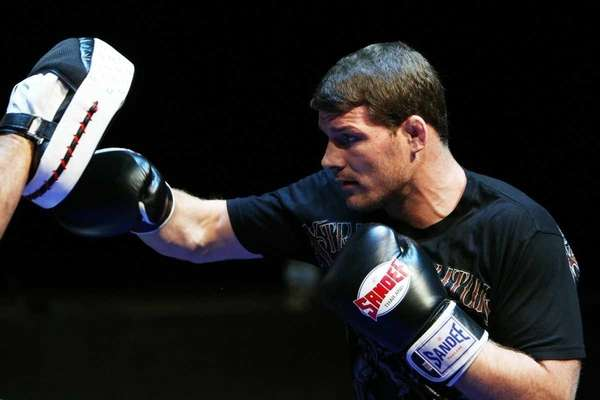 Michael Bisping does some glove work during an