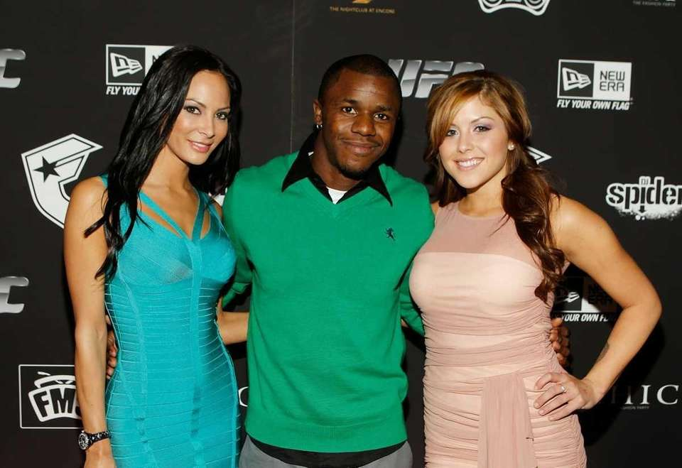 Kendra Perez, left, UFC fighter Melvin Guillard and