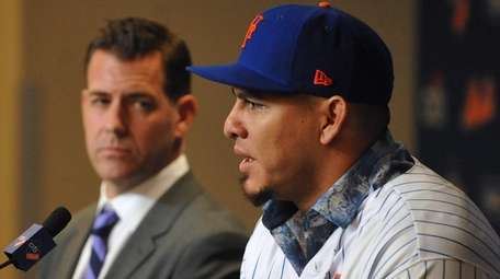 Wilson Ramos, newly-signed Mets catcher, speaks with the