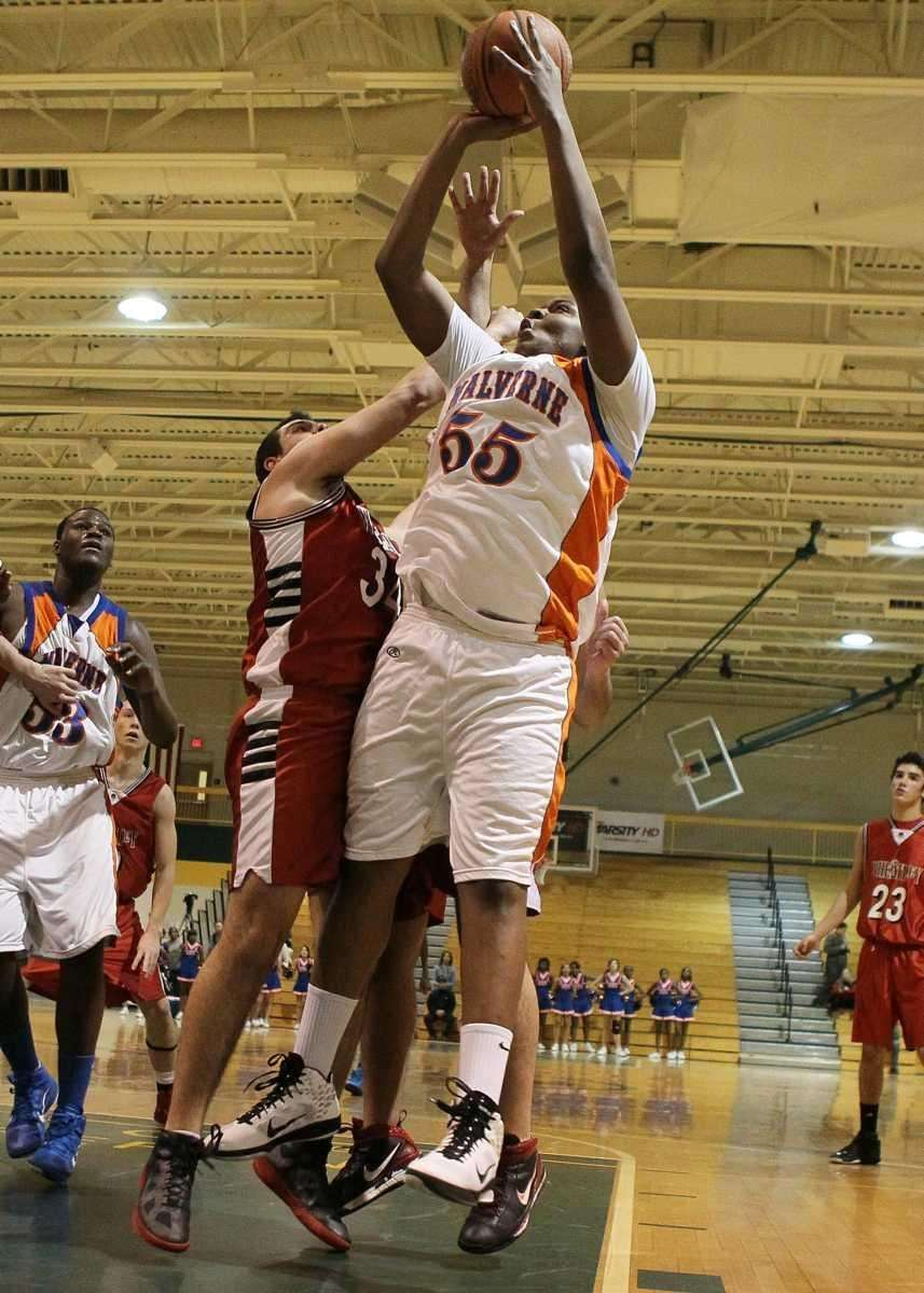 Andre Berry #55 of Malverne puts up a