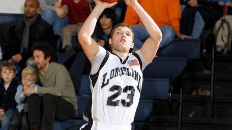 Michael Culpo shoots a three-pointer for LIU. February