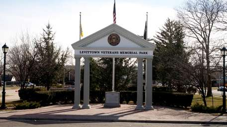 An arch greets visitors to Levittown Veterans Memorial