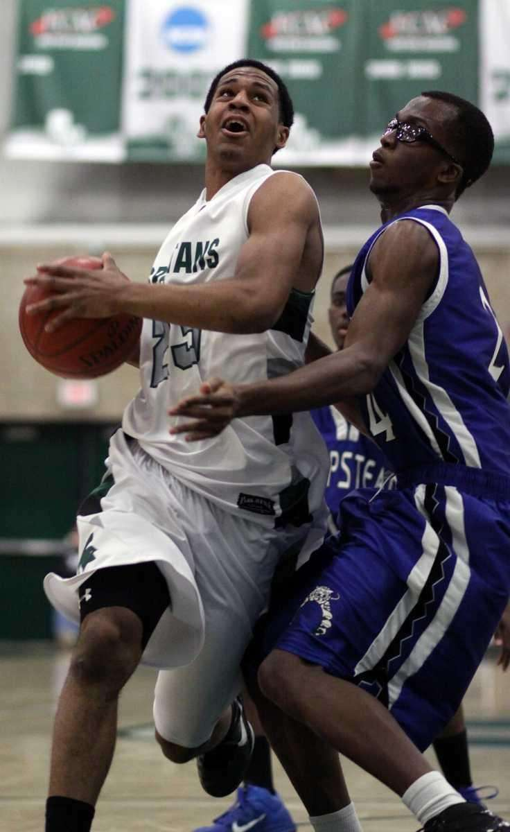 Elmont's Tyler Dechalus gets on the inside during