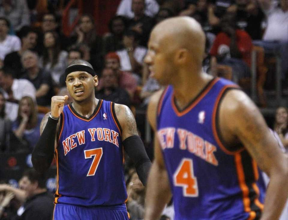 New York Knicks' Carmelo Anthony (7) celebrates after