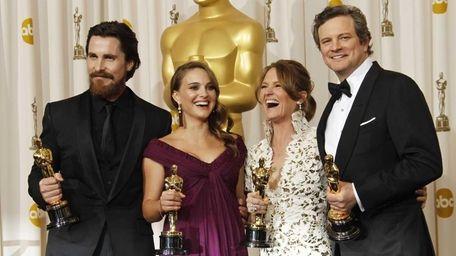 From left, Christian Bale, Natalie Portman, Melissa Leo