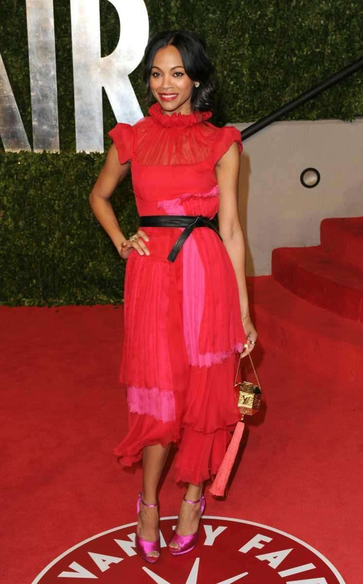 Actress Zoe Saldana arrives at the Vanity Fair