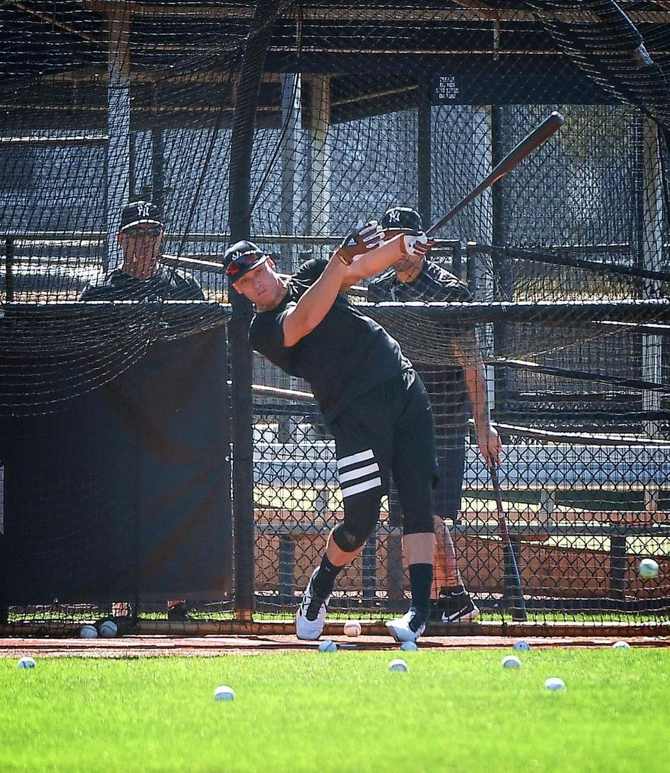 Aaron Judge takes batting practice at the Yankees