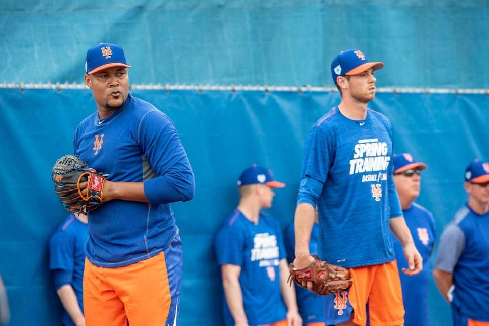 New York Mets pithcers Jeurys Familia (left) and
