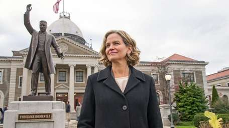 Nassau County Executive Laura Curran outside the Theodore