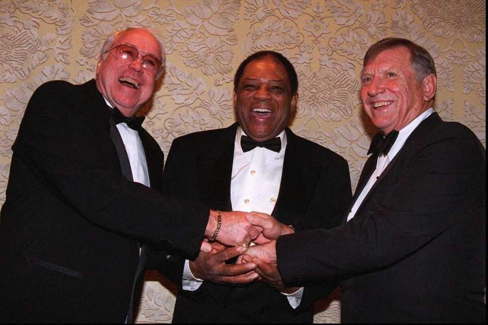Baseball legends Duke Snider, left, Willie Mays and