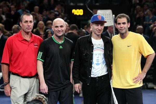 (L-R) Ivan Lendl, Andre Agassi, John McEnroe and