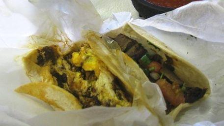 Chorizo (left) and tongue tacos at Los Compadres