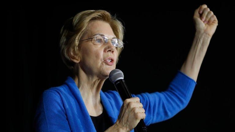 Sen. Elizabeth Warren, D-Mass., speaks to local residents