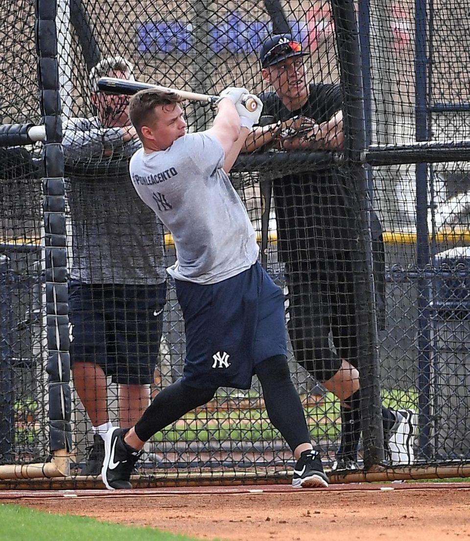 Yankees first baseman Luke Voit takes batting practice