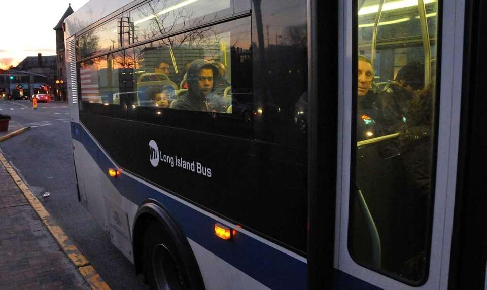 Commuters ride the N58 bus in Great Neck.