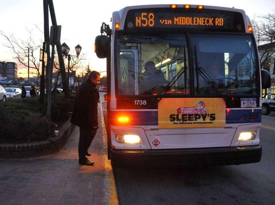 Commuters board the N58 bus in Great Neck.