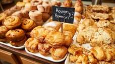French-style pastries and bread are for sale at