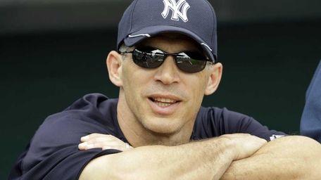 New York Yankees manager Joe Girardi watches from