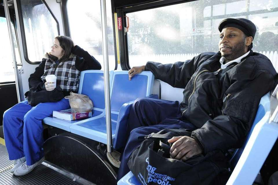 Gregory Spandy of Westbury rides the bus early