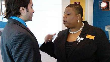Chaundra Daniels give last minute advice at the