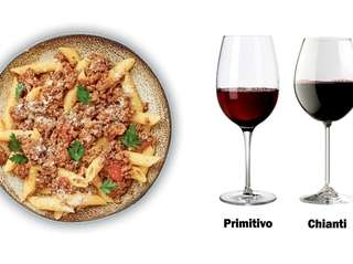 Pasta with red sauce wine pairing
