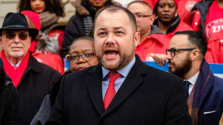 Corey Johnson during a rally on the City