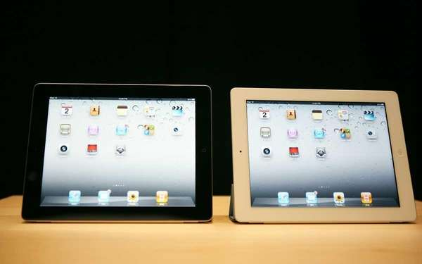 The second generation iPads are displayed during Apple's