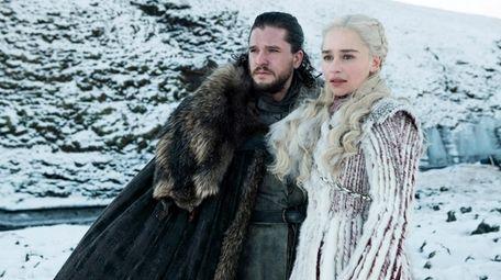 Kit Harington and Emilia Clarke in HBO's Season