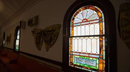 One of the restored stained glass windows inside