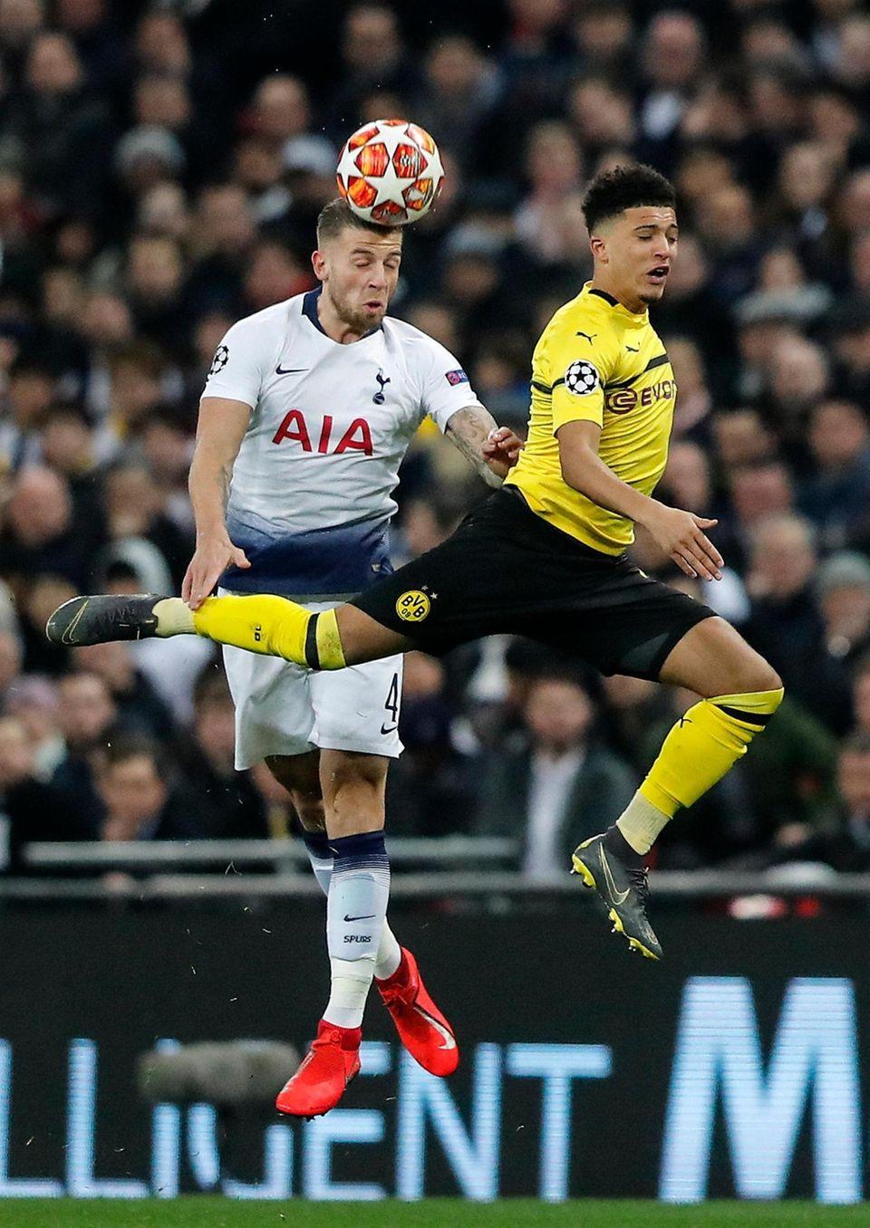 Tottenham defender Toby Alderweireld, left, and Dortmund forward