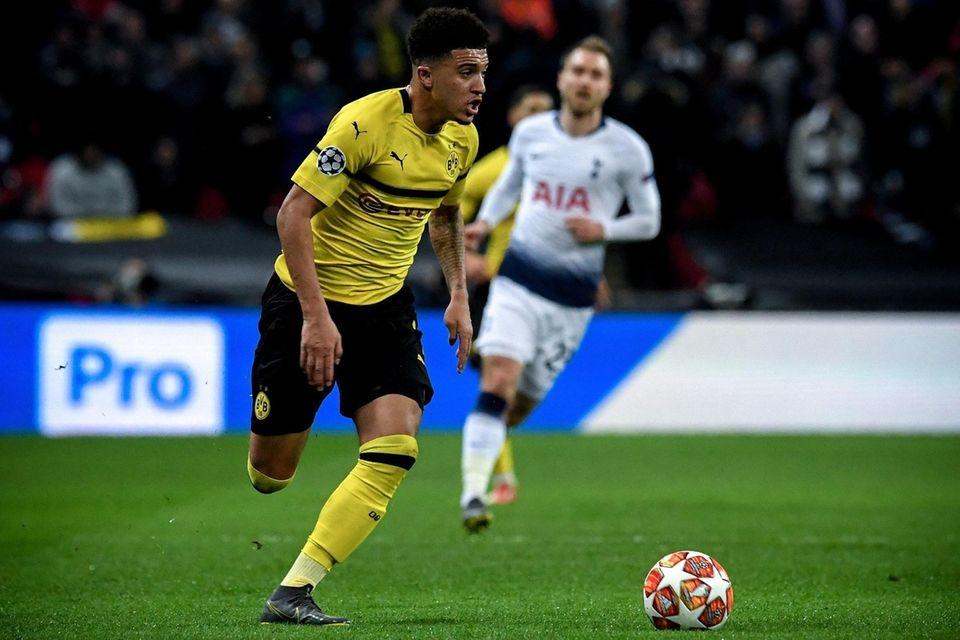 Dortmund's Jadon Sancho in action during the UEFA