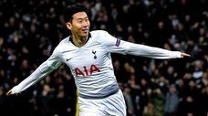 Tottenham's Heung-min Son celebrates after scoring the 1-0