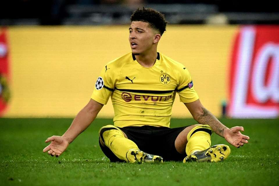 Dortmund's Jadon Sancho reacts during the UEFA Champions