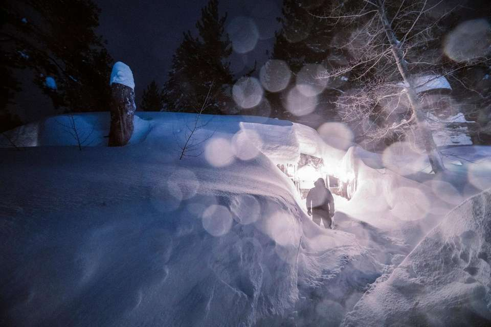 A winter storm sweeps into Mammoth Mountain, Calif.,