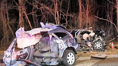 The crash scene at Middle Country Road and