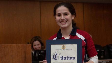 Table tennis player, Estee Ackerman recieves a award