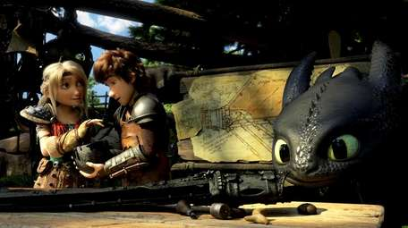 Astrid (America Ferrera), Hiccup (Jay Baruchel) and Night