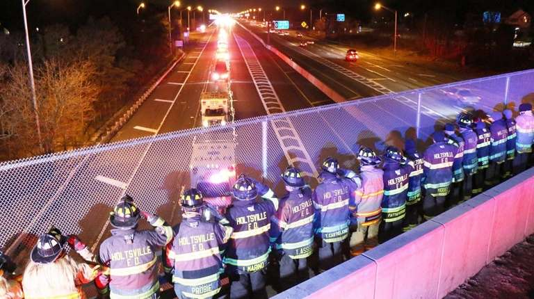 Holbrook and Holtsville firefighters on the Exit 61
