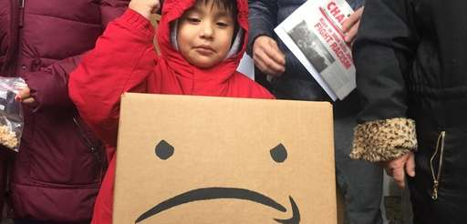 Steven Gill, 4, of Brooklyn joins a protest