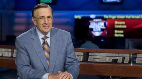 Brent Musburger on the set of ESPN's College