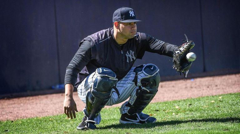 New York Yankees Catcher Gary Sanchez catches Luis