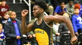 Malik Barrett of Uniondale wins the 55 Meter