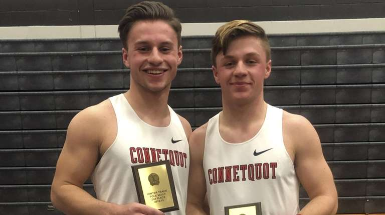 Connetquot pole vaulters Mike Domozych, left, and Tom